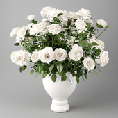 White roses in a white vase | Bouquet of white roses in a white vase