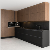 Kitchen L Modern Black and Woodd
