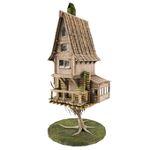 Medieval fantasy house low poly 3D model