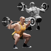Bodybuilder. Barbell Squats