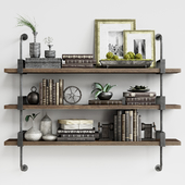 Shelf with decor French Factory Shelving Restoration Hardware