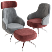 Pillo Low Back Easy Chair With Aluminium Base by Swedese