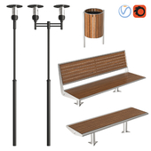 Exterior lamps and benches