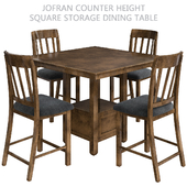 Jofran Counter Height Square Storage Dining Table