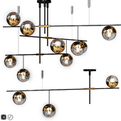 Lampatron Technum Chandelier set.v2  3 and 9 clear shades