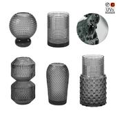 Relief Glass Vases Set 01