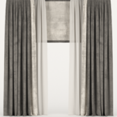 Бархатные шторы с тюлем и римской шторой