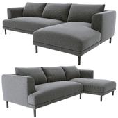 Bowery chaise corner sofa gray