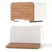 Хлебница с бамбуковой крышкой Kamille KM-1107 White