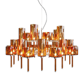 Chandelier AXO Light Spillray SP lamps 30 orange glass