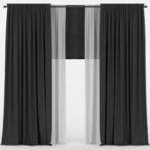 Чёрные шторы с тюлем и римской