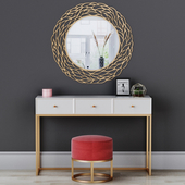 CAZARINA interiors. Dressing table with mirror and ottoman