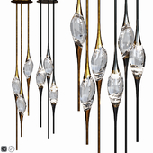 IL PEZZO 12 ROUND CHANDELIER Light Bronze and Black / Gold