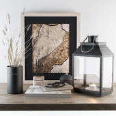 Decorative Black Set - Wheat and Lantern