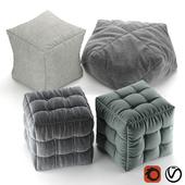 Soft fabric poufs