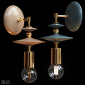 Wall lamp Beaded Saucers Sconce Gray, Terracotta