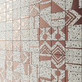 Terrazzo tile with brass inserts from Madique