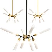Glass Fluted Shade Chandelier 8 Lights
