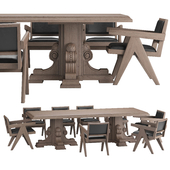 RH Corbel Carved Dining Table with Jakob Chair