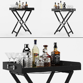 Bar table with alcohol Ralph Lauren Gavin tray and stand