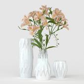 Vases with alstromeries