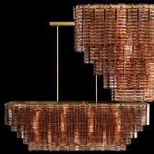 Restoration Hardware SIRENE LINEAR CHANDELIER 54 Brass Smoke Glass