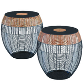 Side Table African Drums (2 / Set)