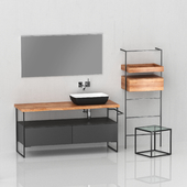 Bathroom furniture with a mirror and a washbasin.