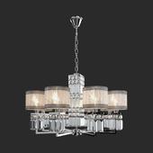 OM Suspension chandelier with lampshades Eurosvet 10099/8 chrome Zaffiro