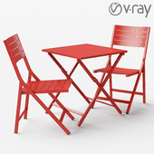 Indals red aluminium table and chair