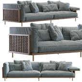 122 Belle Reeve Sofa Brass & Walnut