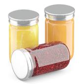 3д модель набора банок с джемом и медом