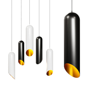 Modern Cylindrical Pendant Light - Minimalistic Lighting Fixture Black and White