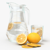 Jar with water and lemon slices