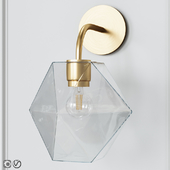 West Elm Sculptural Glass Faceted Sconce Clear