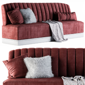 Red Sofa with Hairy Pillows