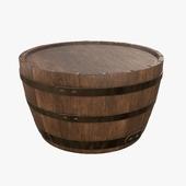 Wooden barrel half table