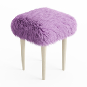 Midcentury Stool Sheepskin Fur