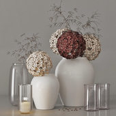 decorative set with a bouquet of hydrangeas and field plants 09