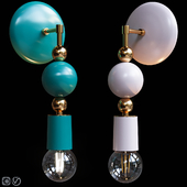 Бра Beaded Sconce Sphere Emerald and Blush