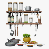 Kitchen set Storage racks GSF701+Cooking Pots