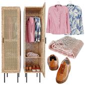 WASKA Шкаф для одежды на вешалках с 1 плетеной дверцей