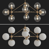 3-sided modo chandelier - 10 globes