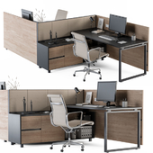 Office Desk Set Cream and Wood
