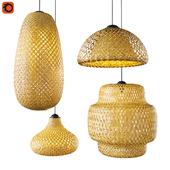 Набор плетеных светильников из бамбука