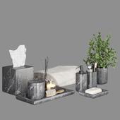 Pottery Barn Black Marble Bath Accessories
