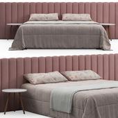 Modern Bed with Stripe Headboard