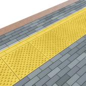 Тактильная плитка и брусчатка (сделано геометрией)