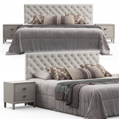 Brunet Contemporary Button Tufted Fabric Queen Headboard Bed