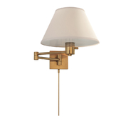 92000DHAB-L Hand-Rubbed Antique Brass Swing-Arm Wall Light in Linen